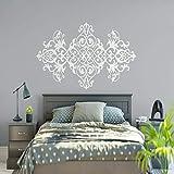 BFMBCH Vintage Chevet Mur Applique Art Style Design Mandala Fleur Vinyle Stickers Muraux Maître Chambre Décoration Wall Stickers Blanc L 127x57cm...