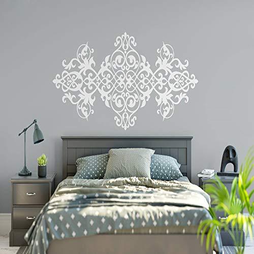 YuanMinglu Retro Kopfteil Aufkleber Mandala Blume Vinyl Wandaufkleber Schlafzimmer Hauptdekoration Tapete weiß 93X42 cm -