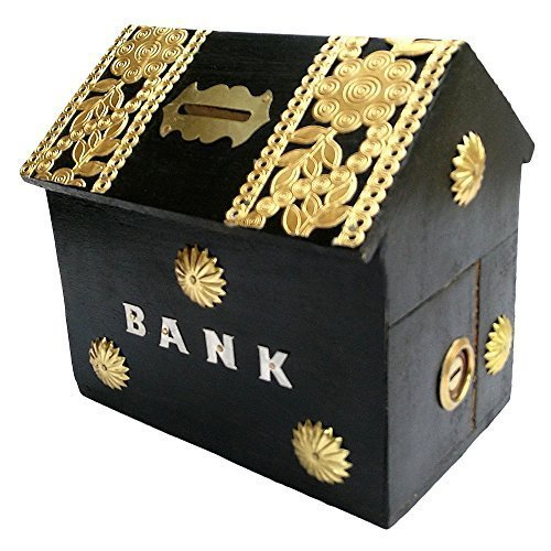 Worthy Shoppee Wooden Money Bank Home Style Black Kids Piggy Coin Box Giftshandicrafted Wooden Money Bank Home Style Black Kids Piggy Coin Box Gifts  available at amazon for Rs.220