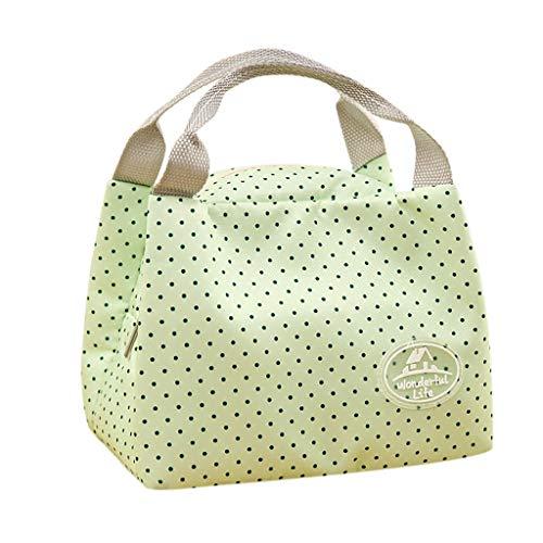 SMILEQ Isolierte kalte Leinwand Streifen Picknick-Tragetasche Thermal Portable Lunch Bag (Grun) (Thermal-taktische)
