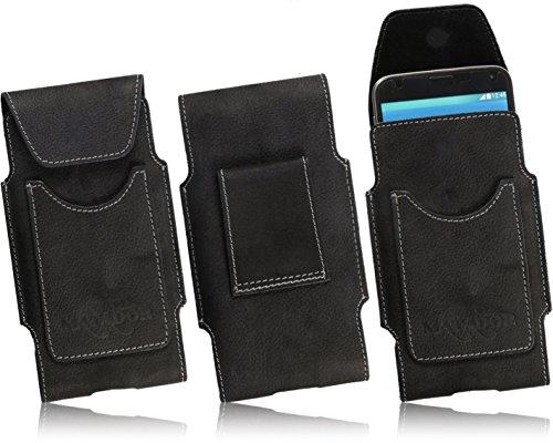 Matador Handy-Tasche ECHT Leder Nubuk Kartenfach Schutzhülle Vertikaltasche Google PIXEL / PIXEL 2 Breite Gürtelschlaufe (Crazy Black)