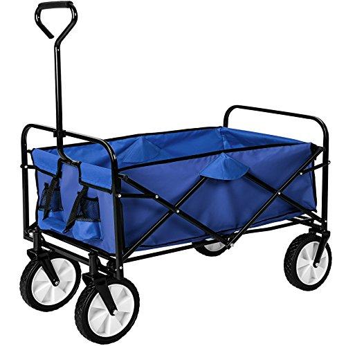 TecTake Chariot de transport à main offroad Remorque de jardin pliable   98 x 55 x 122 (LxBxH)   -diverses couleurs au choix- (Bleu   no. 402595)