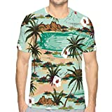 Colorful Print Graphic Tee Shirts for Men Women and Teens Bright Summer Hawaii Island Pattern Landscape Palm Trees Beach Ocean Hand Drawn Style Light Blue Color Halftone