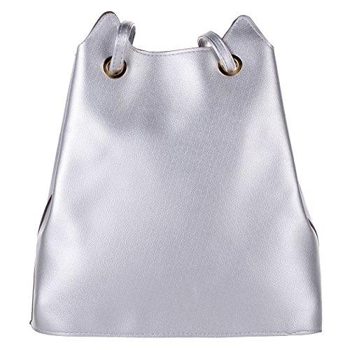 Schultertasche PU Fashion Damen Mädchen Kapazität Handtasche modern Frauen mit Umhängetasche Südkorea Onfashion und riesigen Silber Silber 0B4x8qnt