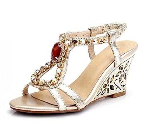 Dayiss Damen Sandalen mit Absatz Straß T-Strap Sommer Sandaletten Auslaufrabatt Gold