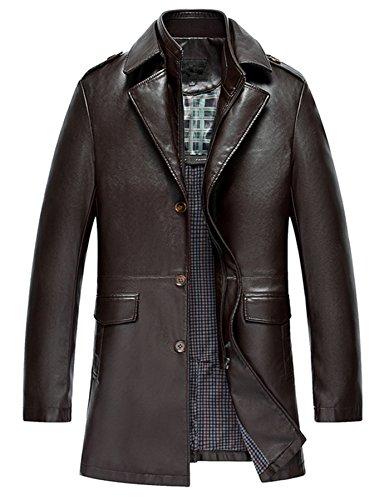 Herren Mode Geschäft Leder Revers Leder Wind Graben Mantel Kaffee