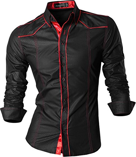 jeansian Herren Freizeit Hemden Shirt Tops Mode Langarmlig Men's Casual Dress Slim Fit (USA XL, Z034_Black) Mens Sexy Latex