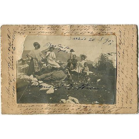 1907 Barzio - Foto della famiglia ritratta in montagna - FP B/N VG ANIM Cartolina Postale - Foto Cartolina Postale