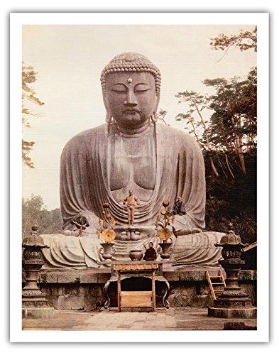 Pacifica Island Art Kunstdruck The Great Buddha of Kamakura (Daibutsu) Statue - K_toku-in Temple, Japan - Vintage Religiöse Kunst c.1921 Antik 11