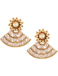 The Jewelbox Kundan Basket 22 K Gold Plated Kundan Polki Stud Earring For Women Valentine Gift Girlfriend Wife