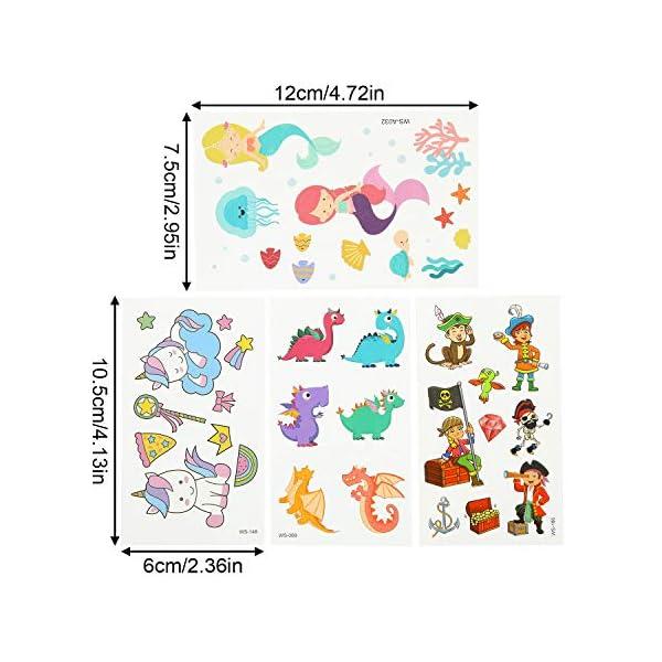 EKKONG Tatuaggi Temporanei per Bambini, 40 Fogli Tatuaggi Set de Unicorno e Dinosauro e Pirata e Sirena, Tatuaggi Finti… 3 spesavip