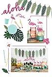 Partyset Komplettset Hawaii Aloha pink grün 51 teilig Partygeschirr Geburtstag Kindergeburtstag Sommer Gartenparty Teller Becher Servietten Party Deko