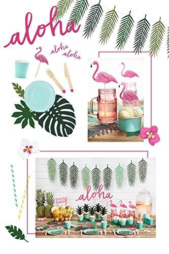 Hawaii Aloha pink grün 75 teilig Partygeschirr Geburtstag bis 12 Personen Kindergeburtstag Sommer Gartenparty Teller Becher Servietten Party Deko (Serviette-wrapper)