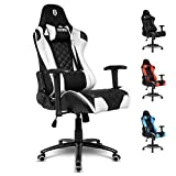 EMPIRE GAMING Black/White 700 Series Racing Gaming Chair – Ultra-comfortable sport bucket seat – Adjustable 2D armrests – neck and lumber support provided free.
