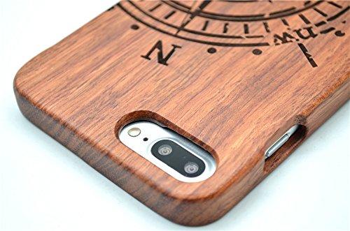 Holzsammlung® iPhone 8 Plus Holzhülle - Rosenholz und PC - NatürlicheHandgemachteBambus / Holz Schutzhülle für Ihr Smartphone Palisander-Kompass
