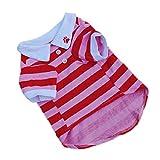 Culater® Cane Carino Maglietta Dei Vestiti Banda Risvolto Vestiti Del Cane Di Cotone Cucciolo (Rosso, M)