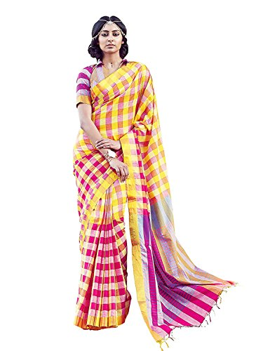 VM Trends Womens Cotton Printed hand Woven saree (color blocked)Aabha  available at amazon for Rs.1469