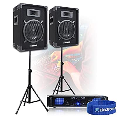 "Does not apply Pair of Max 8"" Speakers Stands Power Amp EQ Bedroom DJ Home Hi-Fi Party 300W"