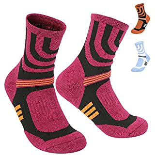 KOOOGEAR 3 Pairs Men Women Hiking Walking Socks 4-8 UK Size,No Blister Terry Cushion,Breathable,Warm,Moisture Wicking,Arch Support,for Outdoor Sports Running Walking Trekking Cycling Camping Golf Gym 3