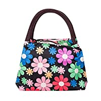 Manadlian Lunch Bag, Cute Reusable Thermal Insulated Package Portable Waterproof Oxford Lunch Zipper Bags for Picnic (22*15.5*17cm, Black Flower)