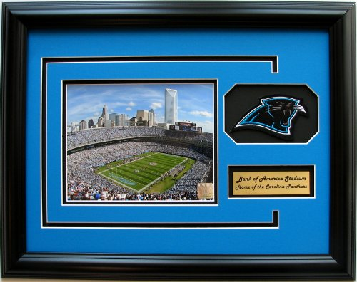 nfl-carolina-panthers-bank-of-america-stadium-framed-landscape-photo-with-team-patch-and-nameplate