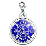 Firefighter Feuerwehr Malteser Kreuz–Blau groß verchromtem Metall Pet Dog Cat ID Tag