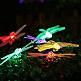 Ledertek - Luces de Navidad con energía solar en forma de libélula, 20 luces LED 4.8m de cadena con 8 modos de temporizador automático, para interior o exterior, impermeables y multicolores