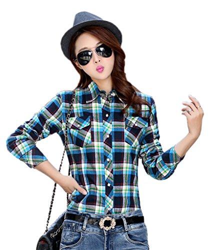 Bigood Femme Fashion Blouse Avec Velours Carreaux Chemise Slim Epais Manches Longue Bleu Turquoise