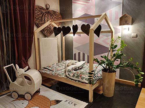 Hyggelia Kinderbett Hausbett ohne Sicherheitsbarriere Bonnie Holzbett für Kinder, für Jugendliche, Landhausbett, Betthöhe über dem Boden 14 cm (160 x 200cm, Gemalt (Farbe wählen))
