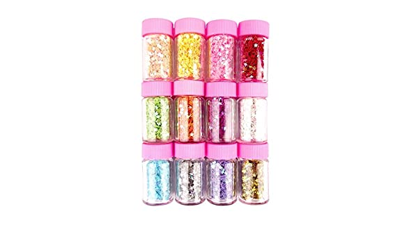 Craft Nail Accessories Multipack of 12 Star or Plain Glitter Bottles