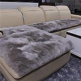 LZHDAR Weißer Schaffell Teppich, Wohnzimmer Teppich Moderne Schlafzimmer Teppiche Weiche Matte Wolle Teppich Platz 60 * 60 cm Weiß,Gray,60 * 60cm