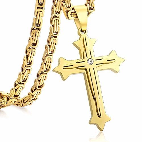 Trendsmax 2-Schicht Kreuz Anhänger Halskette Herren Kette Jungen Edelstahl Byzantinische Box Link Gold überzogen Customized Größe