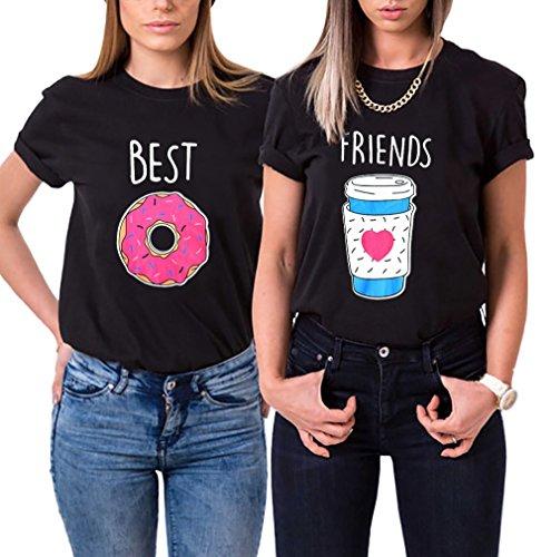 Couples Shop Beste Freunde T-Shirt Best Friends Modal Shirt für Zwei Mädchen Damen Kaffee und Donut Passende Kurzarm Tops mit Aufdruck (Schwarz-Friends, L)