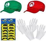DOPPELPACK aus Super Mario Mütze + Luigi Mütze im Komplettset + weißen Handschuhen und Klebe-Bärten für Erwachsene und Kinder Karneval Fasching Verkleidung Kostüm Mützen Cap Herren Damen Kappe