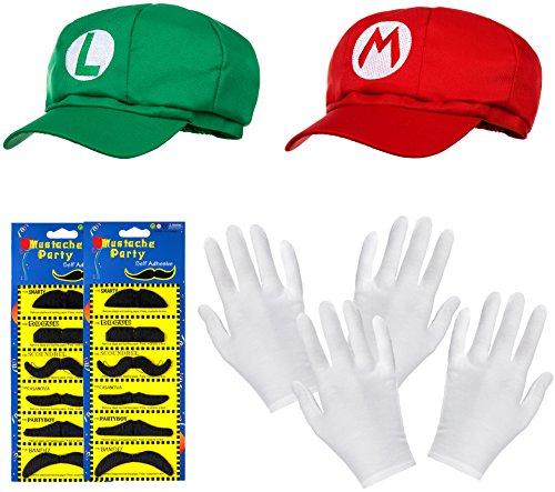 (DOPPELPACK aus Super Mario Mütze + Luigi Mütze im Komplettset + weißen Handschuhen und Klebe-Bärten für Erwachsene und Kinder Karneval Fasching Verkleidung Kostüm Mützen Cap Herren Damen Kappe)