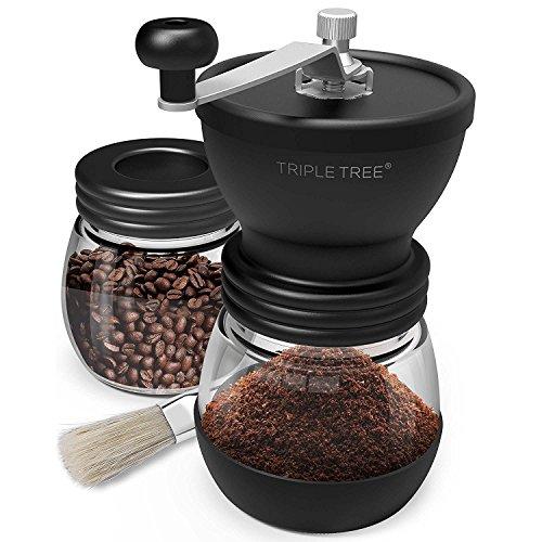 Triple Tree Handkaffeemühle mit Keramikmahlwerk Manuelle Kaffeemühle Einstellbar Handmühle +...