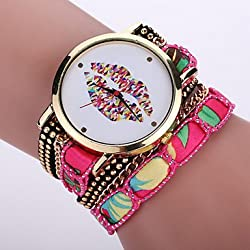 Beautiful Watches , Women's Bohemian Style Fabric Band White lip Mouse Case Analog Quartz Layered Bracelet Fashion Watch