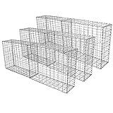 MonsterShop Gabionenkörbe, verzinkter Stahlkäfig, Drahtgeflecht, Steinkorb, Außenbereich, Spiralhalterung, Wandpflanzgefäß, Garten, 100 x 30 x 30 cm, 6 Stück
