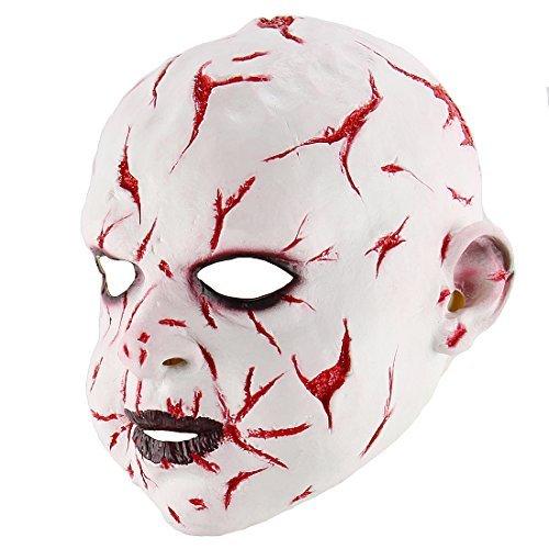 CJWLOY Scary Cosplay Halloween Kostüm Party Requisiten Horror Bloody Ghost Puppe Maske
