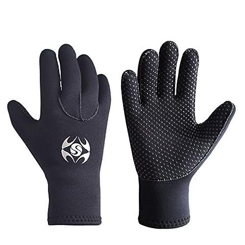 3mm Neoprene Wetsuit Gloves - Adult Elastic Warm Scuba Diving Glove - Snorkel Gloves for Surf Kayak Diving Watersports