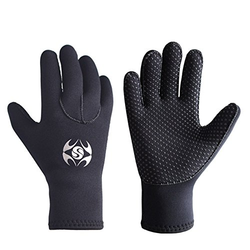 3mm Neoprene Wetsuit Gloves - Adult Elastic Warm Scuba Diving Glove - Snorkel Gloves for Surf Kayak Diving Watersports (L)