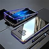 Yidai-Silu Galaxy Note 9 Tik Tok Video Gefragt Handyhülle, 【Magnet KönigⅡ, 9H Hart Glas,Kratzfest Metall】 Alu Stark Magnetisch Back Case für Samsung Galaxy Note 9 6,4 Zoll - Blau&Schwarz