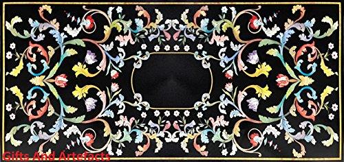 Gifts And Artefacts Konferenz Cum Meeting Tisch Top 152,4x 76,2cm Rechteck schwarz Marmor Floral Design (60 In Runde Tisch)