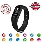 #8: Eyuvaa M2 Smart Bracelet / Fitband / fitness Band with Heart Rate Monitor OLED Display Bluetooth 4.0 Waterproof Sports Health Activity Fitness Tracker Bluetooth Wristband Pedometer Sleep Monitor Waterproof Smart Bracelet Support Pedometer / Sleep Monitoring / Call Reminder / Clock / Remote camera / Anti-lost Function /OLED Display / Compatible with all Android, Samsung, iPhone , Lenovo, XIOMI, REDMI Oppo, VIVO, Motorola,IOS, Windows with activity trackers and fitness band features (BLACK)