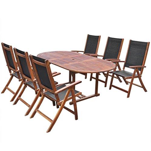 Fesjoy Set da Pranzo per 7 Pezzi Set da Pranzo da Giardino a 6 posti 6 sedie Pieghevoli Tavolo allungabile in Legno di Acacia Conservatorio all'aperto Set di mobili