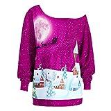 Weihnachten Pullover Damen Weihnachtskleid Rockabilly Cocktailkleid Damen Weihnachten Plus Größe Sweatshirt Elegant Retro Drucken sexy Langarm Knielang Shirt ABsoar