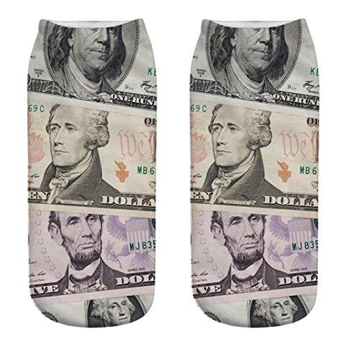Zarupeng Dollar Banknote Pattern 3D Druck Kurzsocken, Unisex Casual Sneaker Socken Arbeits Geschäfts Baumwollsocken Sportsocken Low Cut Sportsocken (One Size, E) (Sachen, Die Eine Dollar)