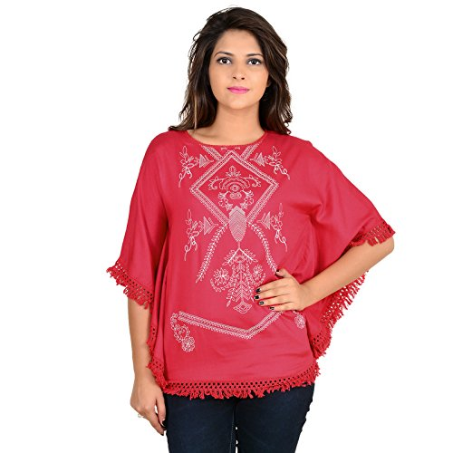 GOODWILL Women's Casual Solid HalfSleeve Kaftan Like Rayon Top-GW-872_S_Red_Small