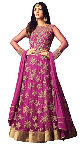 Justkartit Stylish New Women\'s Occasion Party Wear Net Heavy Anarkali Suits With Resham Threal And Pearl Embroidery 2018