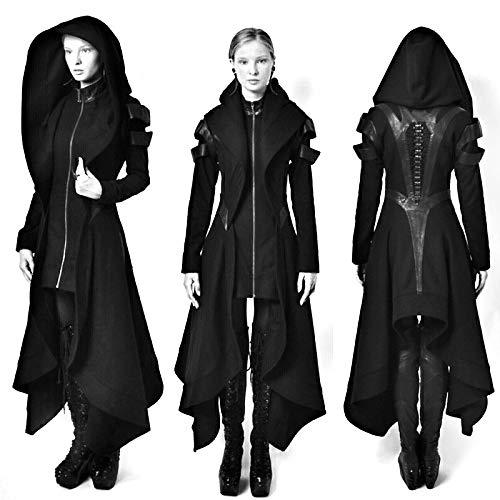 FAJOY Steampunk Hoodies Trench Chaqueta De Gótico con Capucha para Hombre Disfraz De Halloween Abrigo Largo Negro